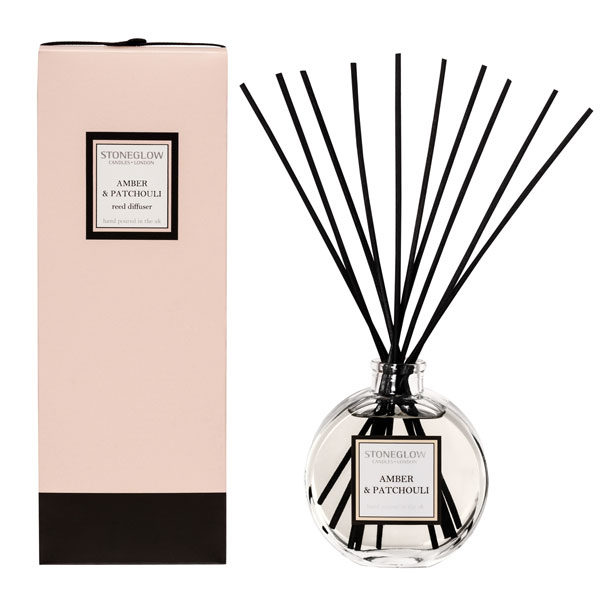 amber and patchouli reed diffuser and box